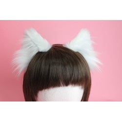 White Realistic Cat Ears (White Inside)