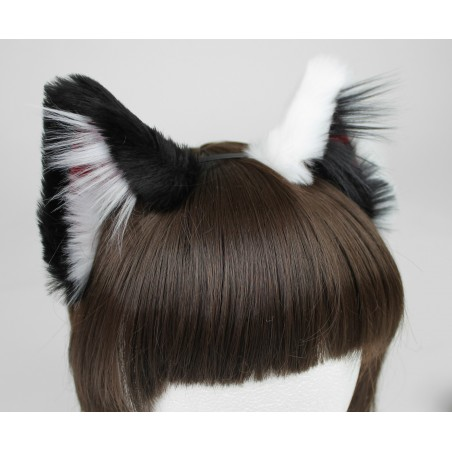 Black and White Realistic Cat Ears (Red Velvet)