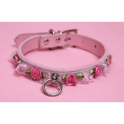 Pink Pleather Lace Collars
