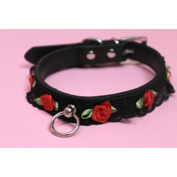Pleather Lace Buckled Collar