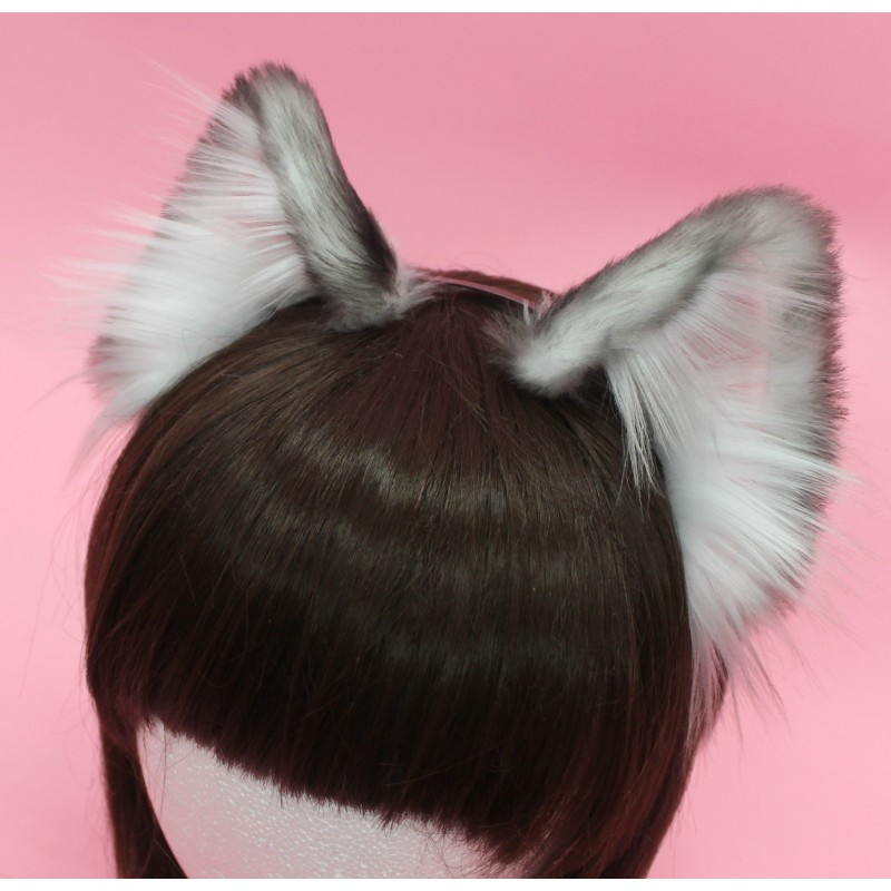 Ash Colored Realistic Cat Ears (Airbrushed)