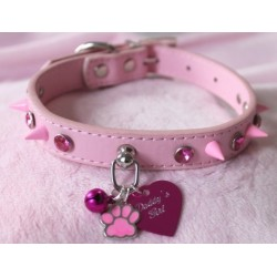 Pink Diamond Studded Collar (Faux Leather)