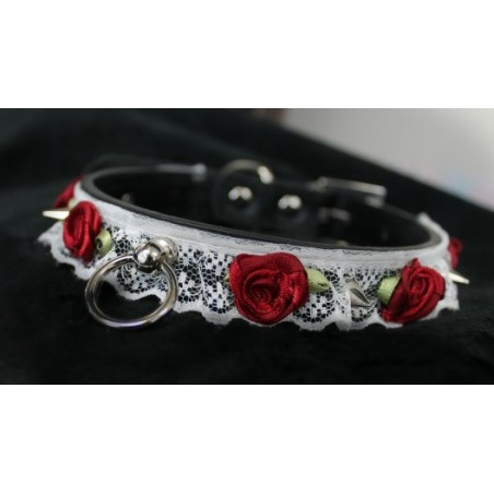 Studded Rose Lace Collar (Wine Roses/Buckled)