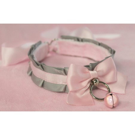 Grey and Pink Pleated Collar