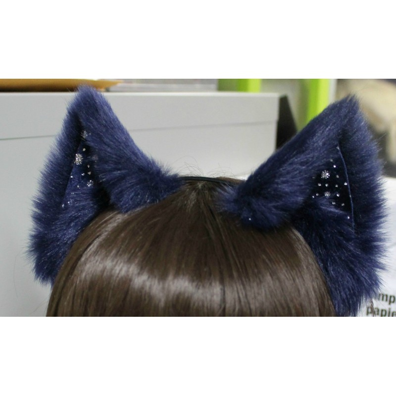 Starry Night Cat Ears (Deep Blue Fur/No front fluffs)