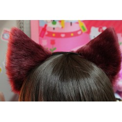Burgundy Cat Ears (Realistic Cat Pattern/No front fluffs)