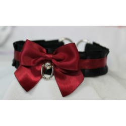 Black and Burgundy Pleated Collar