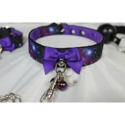 Buckled Galaxy Collar and Leash (With Plush Lining)