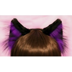 Black an Purple Cat Ear (Realistic Cat Pattern)