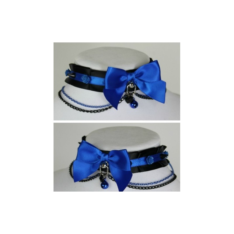 Black and Blue Chain Collar