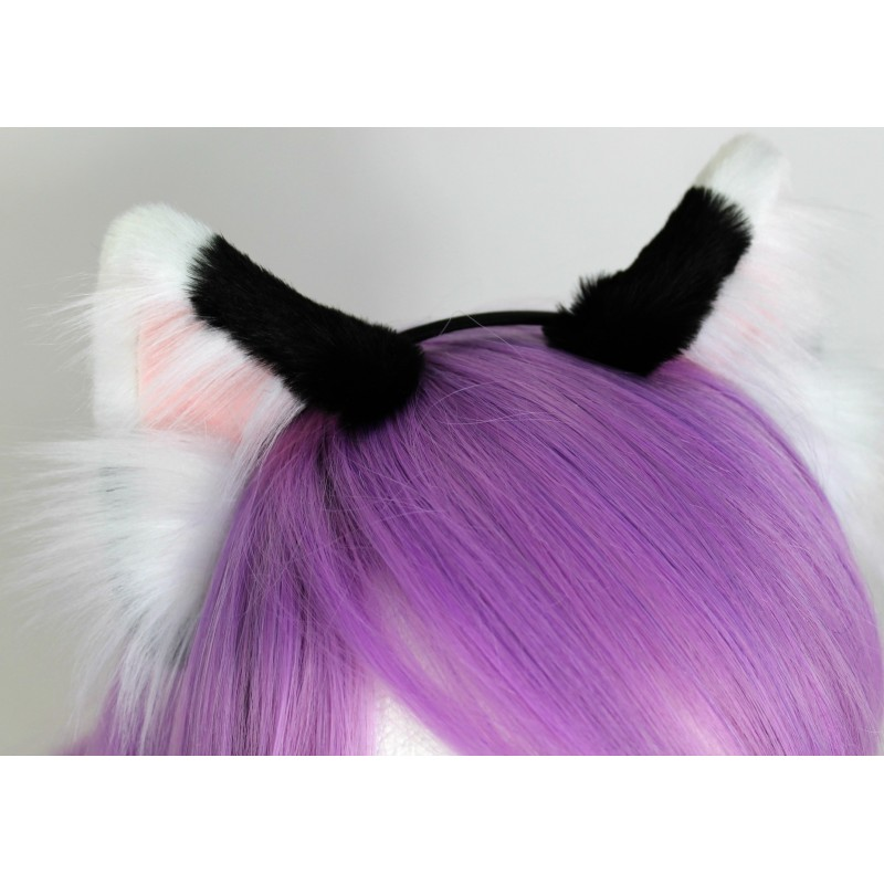 White Tipped Black Realistic Cat Ears