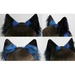 Fluffy Blue & Black Tipped Fox Ears (Comes with piercing)