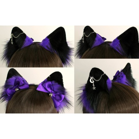 Fluffy Purple & Black Tipped Fox Ears (Includes Chain Piercing)