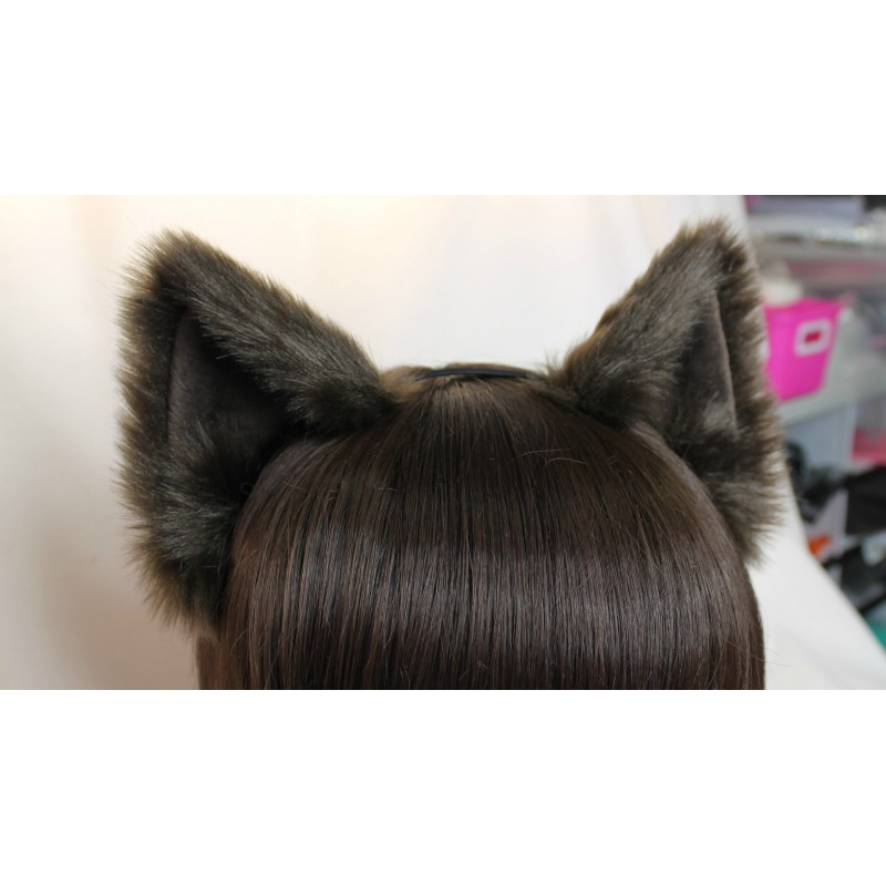 Brown Cat Ears (No Front Fluffs/Brown Plush Inside)