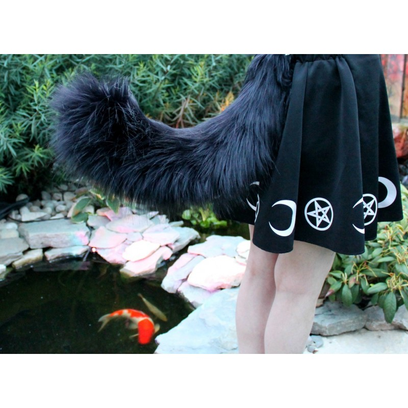 "Black Siberian Cat Tail 4"" Faux Fur Length!"