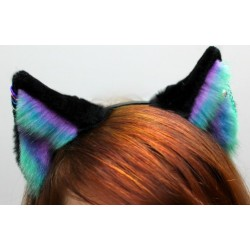 Pale Aurora Fox Ears (4 Ring Piercings & Chain Piercing)