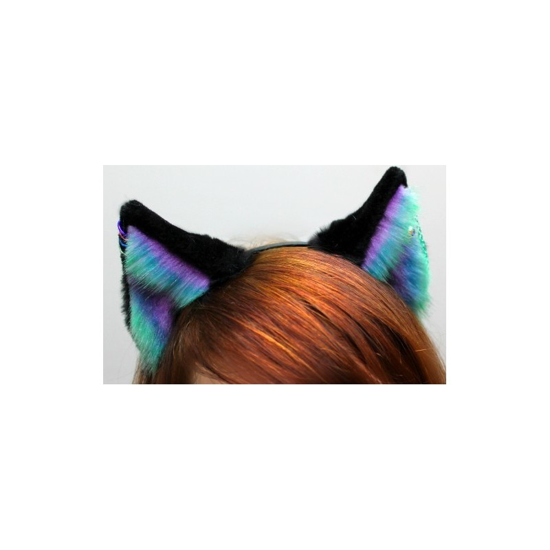 Pale Aurora Fox Ears (Includes 4 Ring Piercings & Chain Piercing)