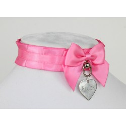 Bubble Gum Pink Pleated Collar