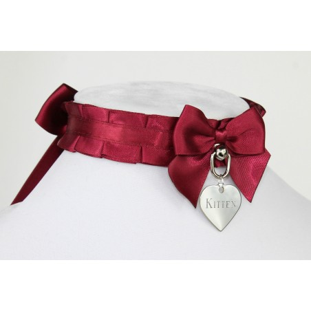 Burgundy Pleated Collar