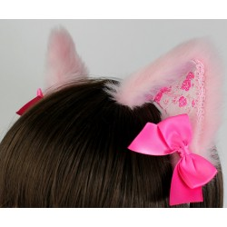Pink Brocade Cat Ears (Limited!)