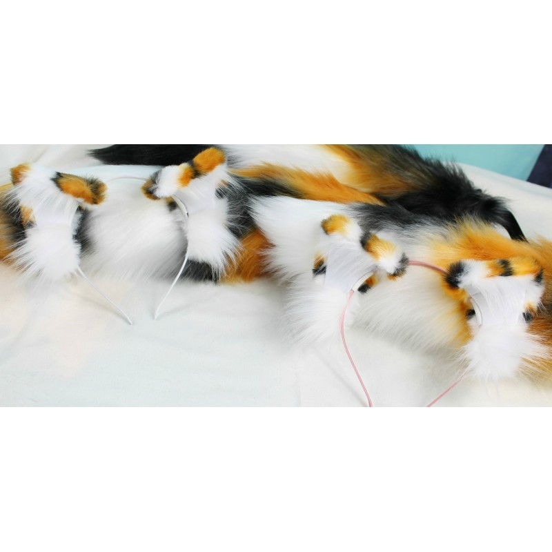 Calico Realistic Cat Ears (Airbrushed/All one of a kind)