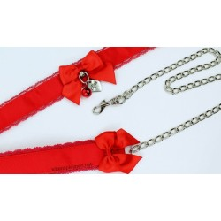 Red Lace Collar  & Leash Set (Buckled)