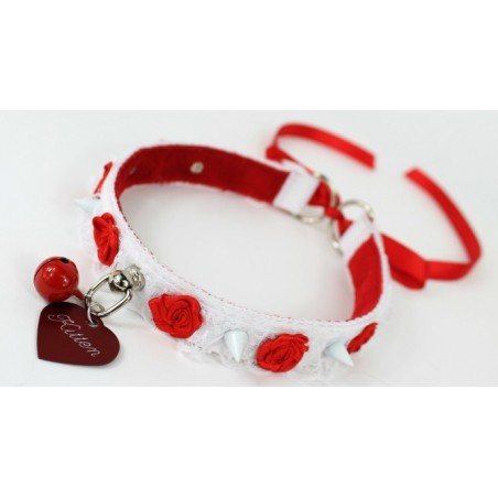 Red Studded Rose Lace Collar (Tie Up)