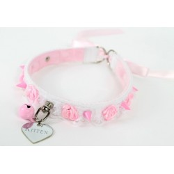 Pink Studded Rose Lace Collar (Tie Up)