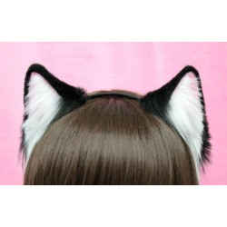 Black & White Kitten Ears (Pink Inside)