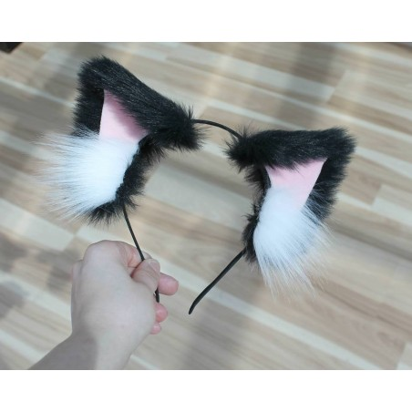 Black & Pink Cat Ears (Pink Velvet/ No front fluffs)