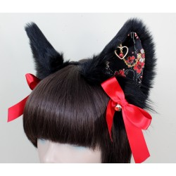 Red Brocade Set (Wolf Ear Pattern/ Fully Wired Tail)