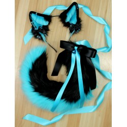 "Teal & Black Set (22"" Two-Toned Puppy Tail)"