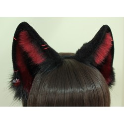 Burgundy & Black Wolf Ears