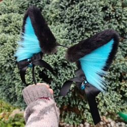 Black and Teal Puppy Ears...
